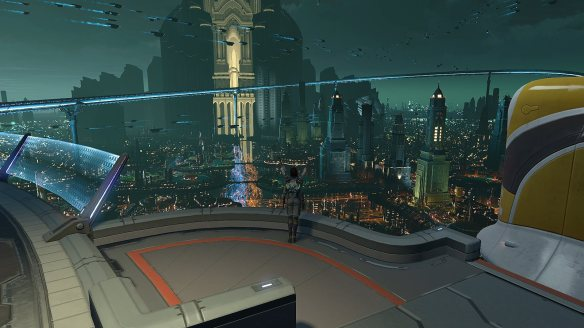 The capitol city of Aelinar in Skyforge's beta