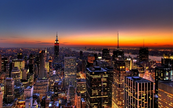 A photo of the New York City Skyline at dusk