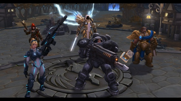 "A cutscene from the tutorial for Heroes of the Storm, depicting a team of ""good"" heroes"