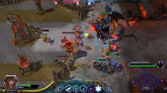 Pushing the enemy base on the Eternal Battleground map in Heroes of the Storm