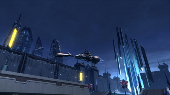 My Imperial agent riding a speeder over the city in Star Wars: The Old Republic