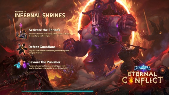 The loading screen for the new Infernal Shrines map in Heroes of the Storm