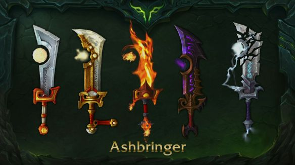 A preview of the different looks for the Ashbringer in World of Warcraft: Legion.