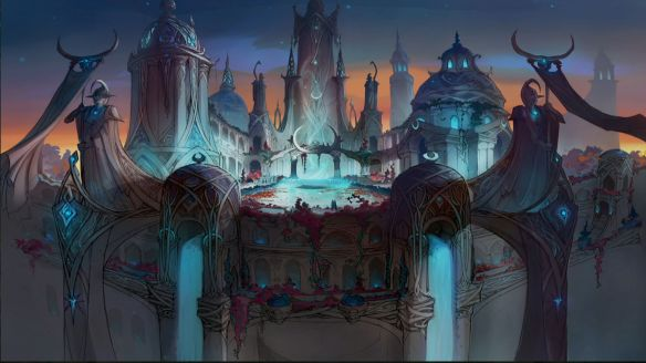 Concept art for the Suramar City raid in World of Warcraft: Legion.