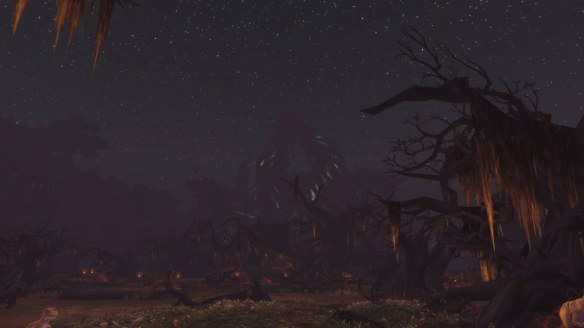 The swamps of Tanaan Jungle by night in World of Warcraft