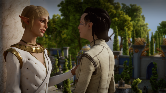 My inquisitor and Sera on their wedding day in Dragon Age: Inquisiton
