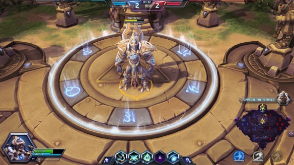 Artanis capturing a temple on Sky Temple in Heroes of the Storm