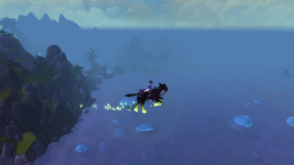 Flying over the fungal seas of Draenor in World of Warcraft