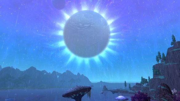 A lovely view of the moon in World of Warcraft's Shadowmoon valley