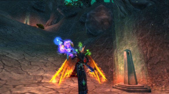 My warlock showing off her newly acquired Dragonwrath, Tarecgosa's Rest in World of Warcraft