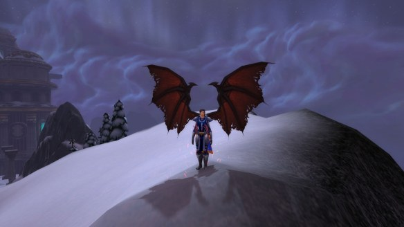 My rogue showing off her wings from Fangs of the Father in World of Warcraft
