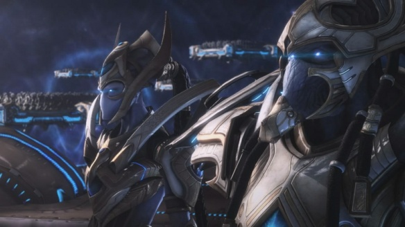 Hierarch Artanis and Executor Selendis rally the Golden Armada in StarCraft II: Legacy of the Void