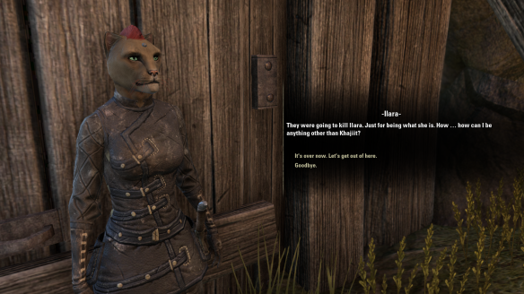 Rescuing a traumatized Khajiit woman in Elder Scrolls Online