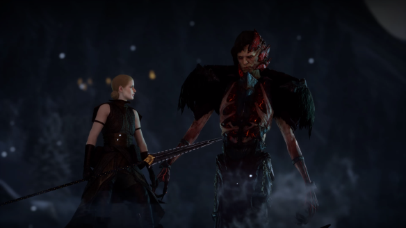 Calpernia, leader of the Venatori, and Corypheus in Dragon Age: Inquisition