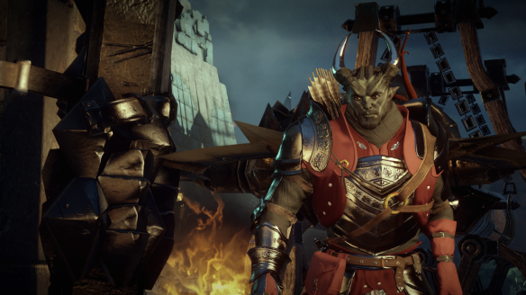 My Qunari inquisitor charges into battle in Dragon Age: Inquisition