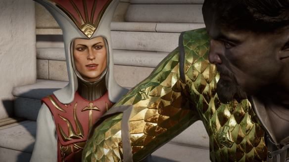 Cassandra Pentaghast -- now Divine Victoria -- in Dragon Age: Inquisition