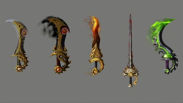 A preview of the outlaw artifact skins for World of Warcraft: Legion