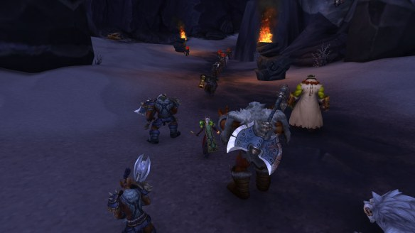 My warlock stands with the Frostwolf clan at the Battle of Thunder Pass in World of Warcraft: Warlords of Draenor