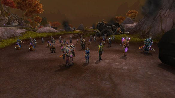 My rogue and the forces of the Alliance at the conclusion of the garrison campaign in World of Warcraft: Warlords of Draenor
