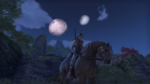 My Bosmer sorcerer takes a ride in the moonlight in Elder Scrolls Online