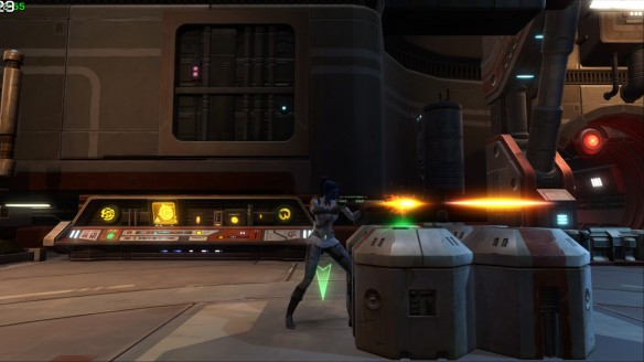 My Imperial agent in a firefight in Star Wars: The Old Republic