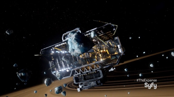 The ice-mining freighter Cantebury in The Expanse