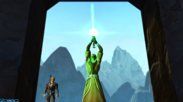 My Jedi consular claims his lightsaber in Star Wars: The Old Republic