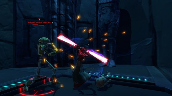 My Sith inquisitor battling droids in Star Wars: The Old Republic