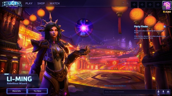 The splash screen for Li-Ming in Heroes of the Storm
