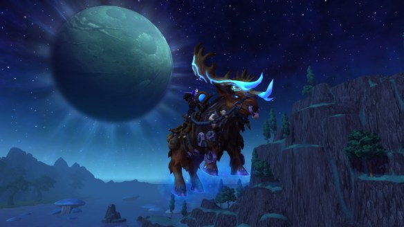 My monk riding her grove warden mount in World of Warcraft