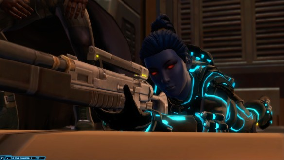 My agent takes her shot during the climax of the class story in Star Wars: The Old Republic