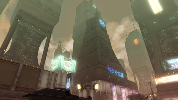 The skylines of Corellia in Star Wars: The Old Republic
