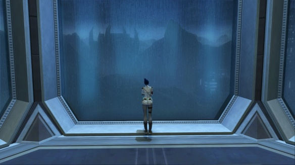 My agent looks out across Kaas City from her stronghold in Star Wars: The Old Republic