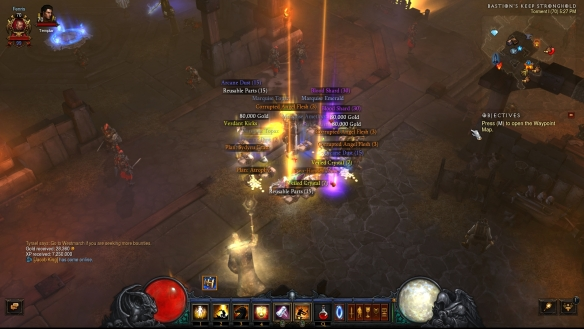 The loot from an act four bounty cache in Diablo III