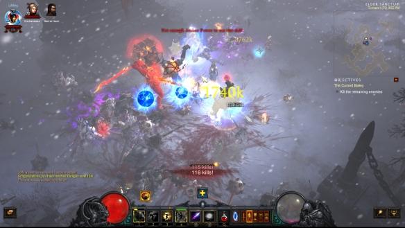 Slaughtering enemies in Diablo III's Ruins of Sescheron zone