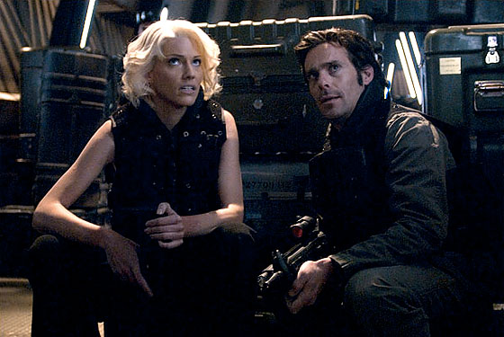 A screencap from BSG's rambling mess of a series finale