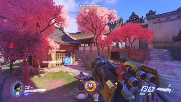 The cherry blossoms on Overwatch's Hanamura map