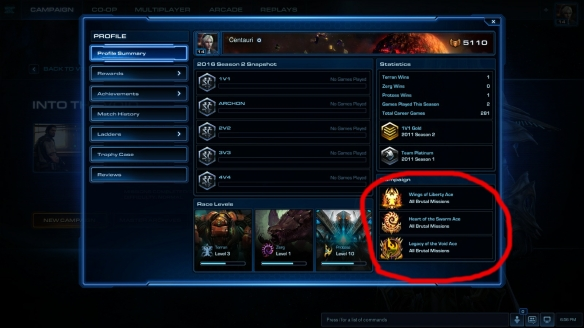 My StarCraft II profile page, showing full brutal completion of all campaigns