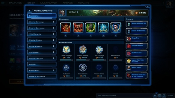 My achievenent pane in StarCraft II