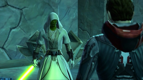 My Jedi consular confronts a Sith in Star Wars: The Old Republic