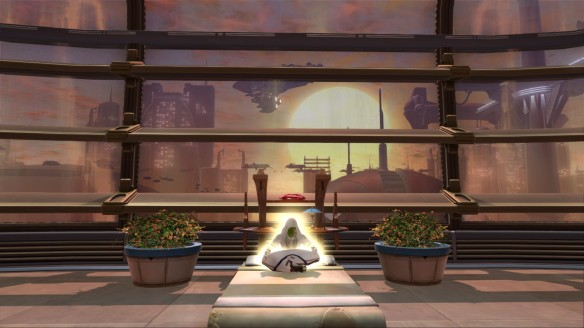 My Jedi consular meditates in his Coruscant stronghold in Star Wars: The Old Republic