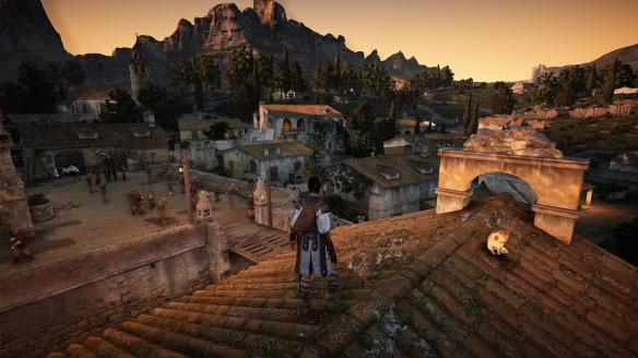 Dusk falls over a town in Black Desert