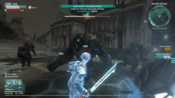 Battling a Volge incursion with a charge blade in Defiance