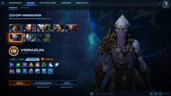 The co-op mission screen in StarCraft II
