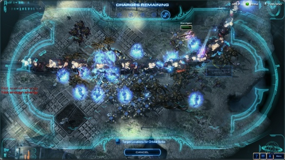 Activating orbital strike as Artanis in a co-op mission in StarCraft II