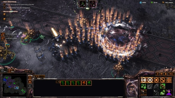 Healing an allied army as Abathur in one of StarCraft II's co-op missions