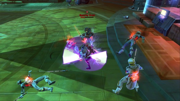 My Sith inquisitor battling enemy forces in Star Wars: The Old Republic
