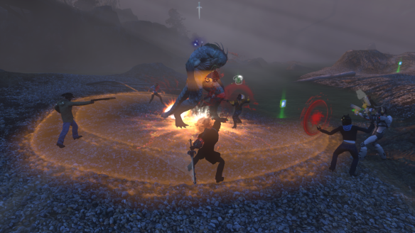 Hunting a Deep One boss for bestiary lore in The Secret World