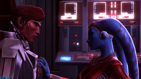 Vette and my warrior share a private moment in Star Wars: The Old Republic