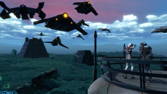Coalition forces on the planet Yavin IV in Star Wars: The Old Republic